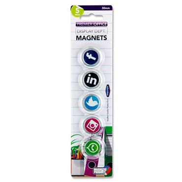 Premier Office Card 5 30mm Round Magnets - Social Media Symbols