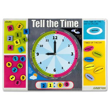 Clever Kidz Magnetic Board 420x210mm - Learn To Tell The Time