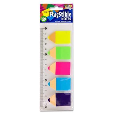 Stik-ie Set 100 Pet Memo In Pencil Shape - 5 Asst