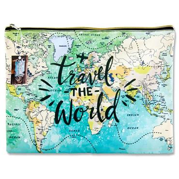 I Love Stationery 215x160mm Pouch - Travel The World