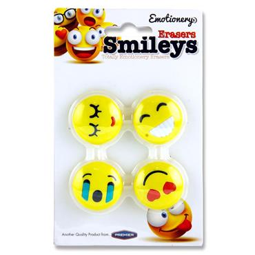 Emotionery Card 4 Erasers - Smileys