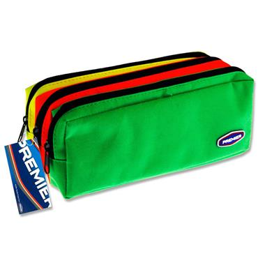 PREMIER 3 POCKET ZIP PENCIL CASE - 3 COLOUR