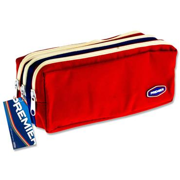 PREMIER 3 POCKET ZIP PENCIL CASE - 2 COLOUR