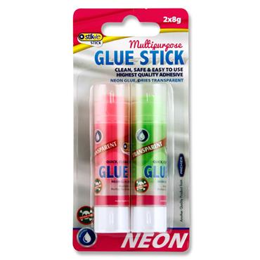 Stik-ie Card 2x8g Transparent Glue Stick - Red & Green