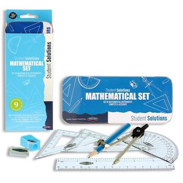 STUDENT SOLUTIONS 9pce MATHS SET - PRINTER BLUE