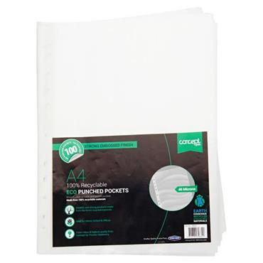 CONCEPT GREEN PKT.100 A4 ECO 100% RECYCLABLE PUNCHED POCKETS