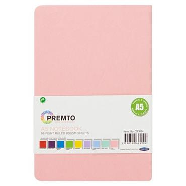 PREMTO PASTEL A5 192pg HARDCOVER PU NOTEBOOK - PINK SHERBET