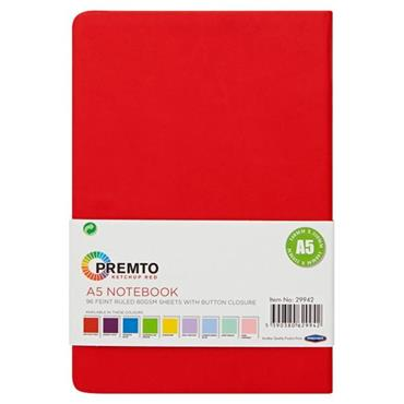 PREMTO A5 192pg HARDCOVER PU NOTEBOOK W/ELASTIC - KETCHUP RED