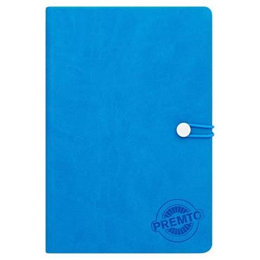 PREMTO A5 192pg HARDCOVER PU NOTEBOOK W/ELASTIC - PRINTER BLUE