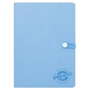 PREMTO PASTEL A5 192pg HARDCOVER PU NOTEBOOK W/ELASTIC - CORNFLOWER BLUE