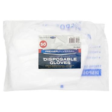 PREMIER UNIVERSAL PKT.50 DISPOSABLE GLOVES - Size 26 x 28cm