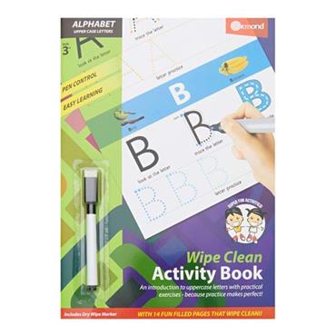 ORMOND A4 WIPE CLEAN LEARNING BOOK WITH PEN - ALPHABET
