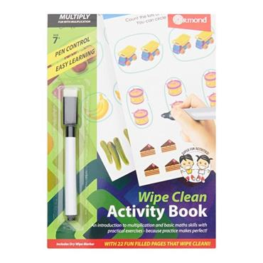 ORMOND A5 WIPE CLEAN LEARNING BOOK WITH PEN - MULTIPLY
