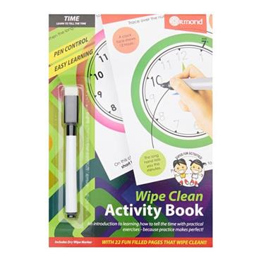 ORMOND A5 WIPE CLEAN LEARNING BOOK WITH PEN - TELL THE TIME