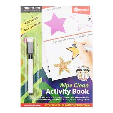 ORMOND A5 WIPE CLEAN LEARNING BOOK WITH PEN - DOT TO DOT