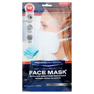 PREMIER UNIVERSAL PKT.10 DISPOSABLE PROTECTIVE FACE MASKS