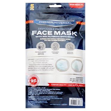 PREMIER UNIVERSAL PKT.5 KN95 DISPOSABLE PROTECTIVE FACE MASKS