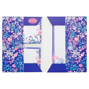 I LOVE STATIONERY A5 WRITING SET AND ENVELOPES - PURPLE FESTIVE FLOWERS