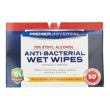 PREMIER UNIVERSAL BOX 50 ANTI BACTERIAL WET WIPES