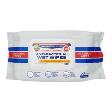 PREMIER UNIVERSAL PKT.50 ANTI BACTERIAL WET WIPES