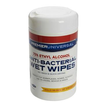 PREMIER UNIVERSAL PKT.100 ANTI BACTERIAL WET WIPES