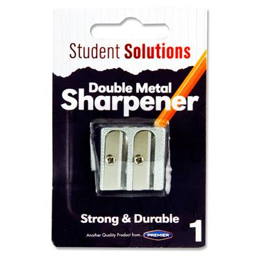 STUDENT SOLUTIONS TWIN HOLE METAL SHARPENER - CARDED
