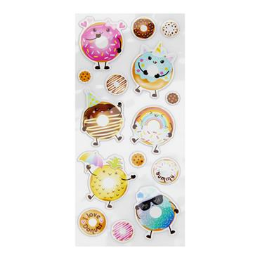 EMOTIONERY CARD 15 PUFFY STICKERS - DONUTS