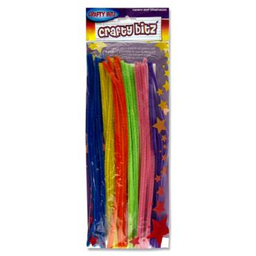 "Crafty Bitz Pkt.42 12"" Pipe Cleaners Stems - Neon Chenille"