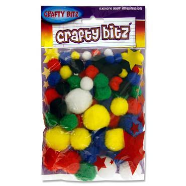 Crafty Bitz Pkt.70 Pom Poms Vivid