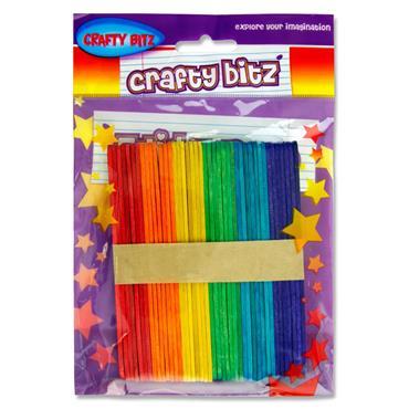 Crafty Bitz Pkt.42 Coloured Lollipop Sticks