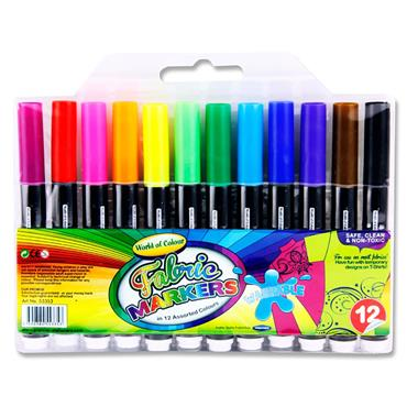 Woc Pkt.12 Washable Fabric Markers