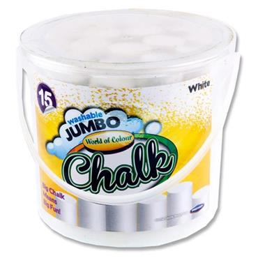 WOC BUCKET 15 JUMBO SIDEWALK CHALK - WHITE