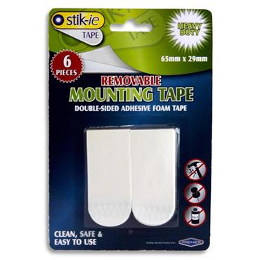 Stik-ie Card 6 65x29mm Removable Double Sided Mounting Tape