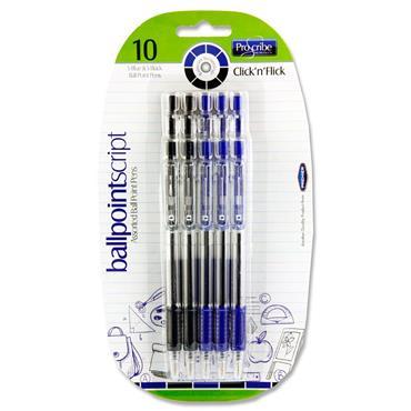 Pro:scribe Card 10 Retractable Ballpoint Pens