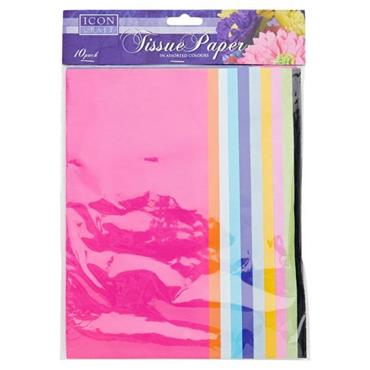 ICON CRAFT PKT.10 SHEETS TISSUE PAPER - BRIGHT