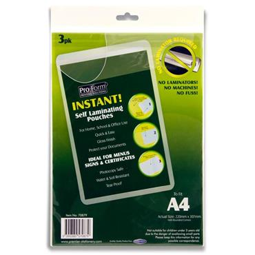 Pro:form Pkt.3 Instant Self Laminating Pouches - A4 220x307mm