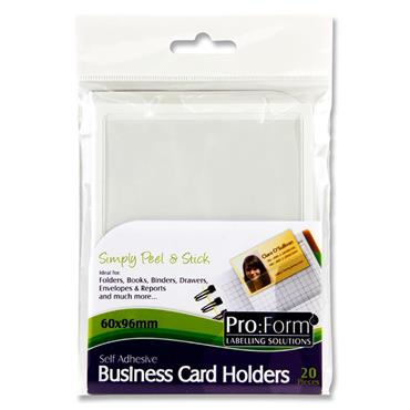 Pro Form Pkt.20 Self Adhesive Business Card Holders 60x96mm