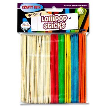 Crafty Bitz Pkt.50 Asst. Wooden Lollipop Sticks
