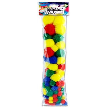 Crafty Bitz Pkt.100 Asst Sizes Pom Poms - Primary