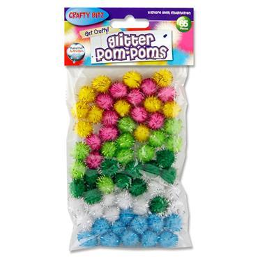 Crafty Bitz Pkt.65 Glitter Pom Poms