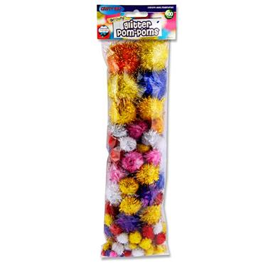 CRAFTY BITZ PKT.100 ASST SIZES POM POMS - GLITTER