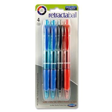 Pro:scribe Card 4 Asst Retracta Ballpoint Pens