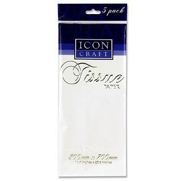 Icon Craft Pkt.5 500x700mm Tissue Paper - White