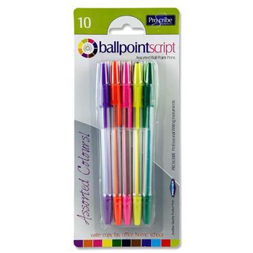 Pro:scribe Card 10 Ballpoint Pens - Asst Colours