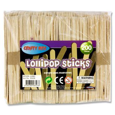 Crafty Bitz Bag 200 Jumbo Lollipop Sticks - Natural