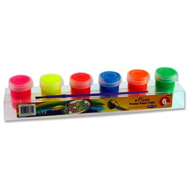 Woc 6x20g Neon Poster Paint Tubs In Platform W/brush
