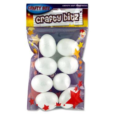 Crafty Bitz Pkt.8 Polystyrene Eggs - 5cm
