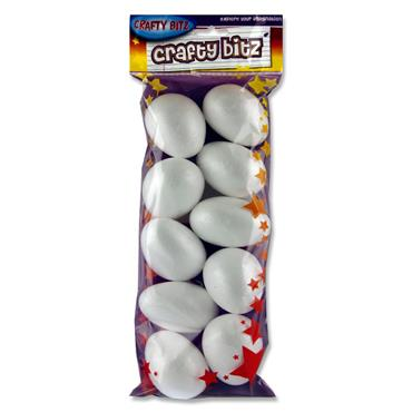 Crafty Bitz Pkt.10 Polystyrene Eggs - 7cm