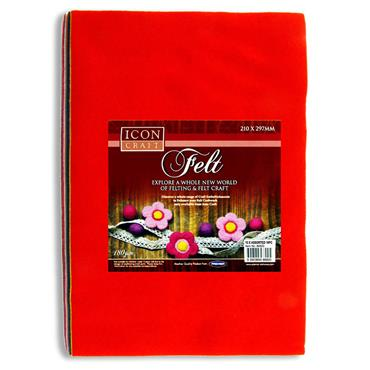Icon Craft Pkt.10 A4 Felt Sheets - Asst