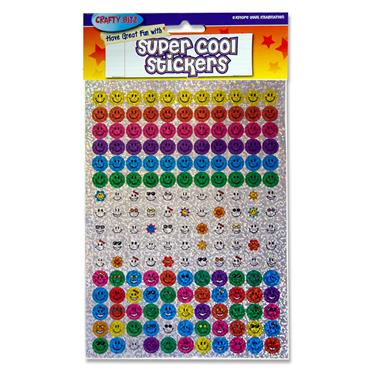 Crafty Bitz Super Cool Holographic Stickers - Assorted Smiley